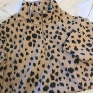 Lands' End Animal Print Fleece Zip Casual Long Sl